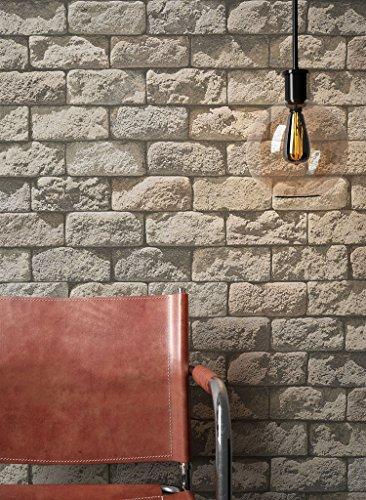 Steintapete in Beige Grau   schöne edle Tapete im Steinmauer Design   moderne 3D Optik für Wohnzimmer, Schlafzimmer oder Küche inklusive Newroom-Tapezier-Profi-Broschüre mit Tipps für perfekte Wände
