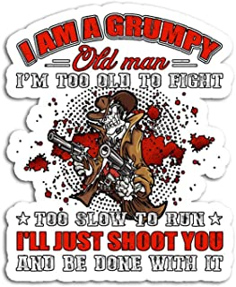 Hand Wooden Customizable Sticker I Am A Grumpy Old Man Too to Fight Veteran Stickers for Personalize (3 pcs/Pack)