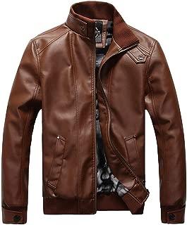Leather Zip Up Jacket Men's Motorcycle Vintage Coat Slim Fit Stand Collar