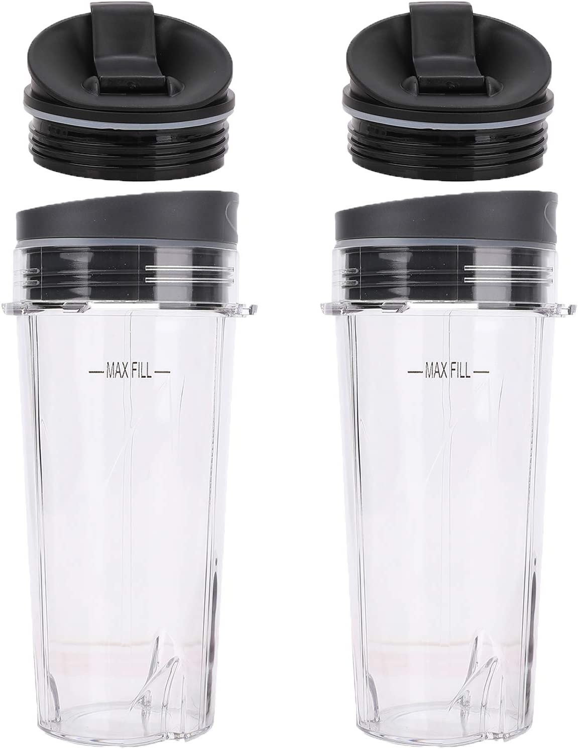 2 Pack 16oz Cups with Lids and Sip N Seal Lids, Ninja Single Serve Blender Cups Replacement Parts Compatible withNutri Ninja BL660 BL770 BL780 BL740 BL810 BL820 BL830