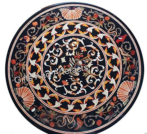 Mesa redonda de mármol negro con mesa de centro hecha a mano de arte de mosaico de la Patrimonio de la India 30 pulgadas