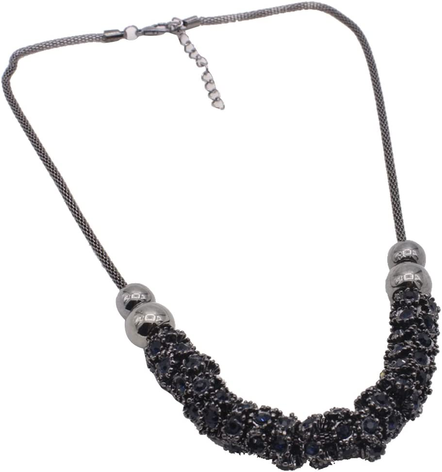 Harilla Flower Crystal Pendant Choker Collar Necklace for Women Lady Jewelry