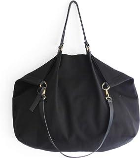 Borsone da viaggio, borsa da viaggio, borsa tracolla, borsa a spalla, Weekend bag, borsa in tela IDROREPELLENTE nera e cuo...