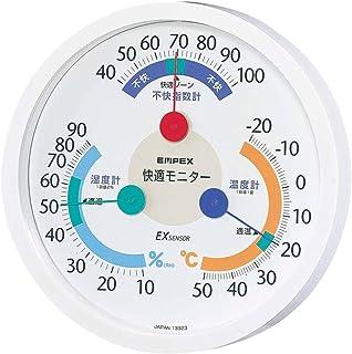 エンペックス気象計 温度湿度計 快適モニター 壁掛け用 日本製 ホワイト CM-6381