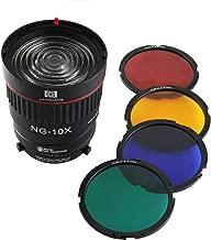 EXMAX NG-10X Fresnel Lens Focusing Adapter Lens kit for Bowens-fit Lights 10X Studio Light Focus Mount Lens Adjust for Flash & Studio LED Light with 4 Color Filters