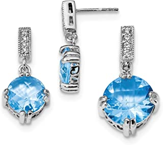 Sterling Silver Polished Post Earrings Blue and Clear Cubic Zirconia Pendant and Earring Set
