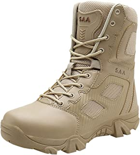 LILICHIC Men's Boots Outdoor Non-Slip Wear-Resistant Combat Mountaineering Hiking Boots Shoes