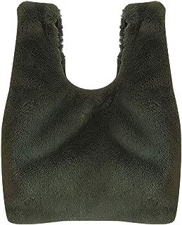 Bageek Fashion Solid Color Slouchy Fuzzy Tote Bag Decor Top Handle Bag for Work Women Handbag