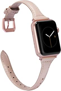 Wearlizer Womens Slim Light Pink Leather Compatible with Apple Watch Band 38mm 40mm for iWatch Sports Thin Strap Replacement Wristband Cool Cute Bracelet with Rose Gold Metal Buckle Series 5 4 3 2 1