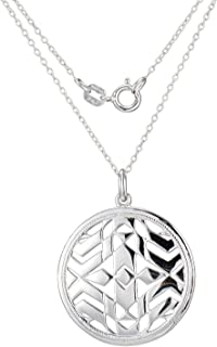 Rhodium Plated Sterling Silver Pendant Necklace, 18