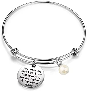 Gzrlyf Mother Bracelet Mom Gifts from Daughter Son You were My First Kiss and First Love You are My Mommy and My Whole World