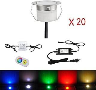 FVTLED Low Voltage 20pcs Multi-color RGB LED Deck Lights Kit 1-3/4