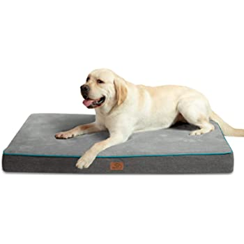 Bedsure Large Memory Foam Orthopedic Dog Bed - Washable Dog Crate Mat with Removable Cover and Waterproof Liner - Plush Flannel Fleece Top with Nonskid Bottom for Medium, Large and Extra Large Dogs