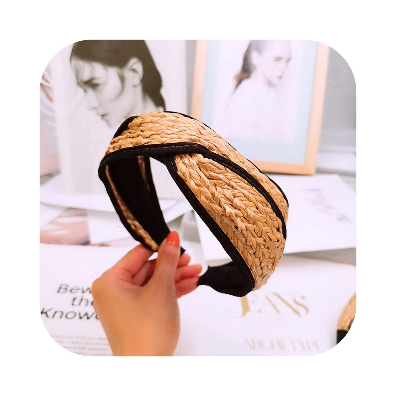 CaCoo Hand Knitted Straw Woven Hoop Knotted Wide Size Hairbands Bezel Turban Women Headbands Girls Accessories Headwear-B-
