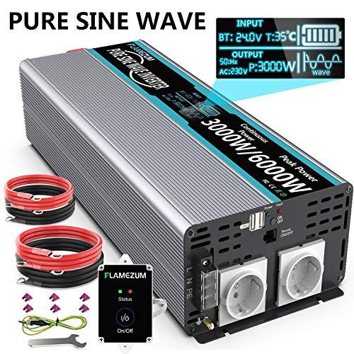 Power Inverter Onda Sinusoidale Pura 3000w Trasformatore di Potenza Convertitore - DC 24v in AC 220v 230v 240v Invertitore di Tensione-2 EU Presa con 2 Uscita USB