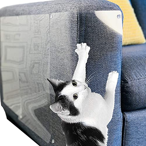Stelucca Amazing Shields Cat Scratch Deterrent for Furniture - 6-Pack, 17-inch x 12-inch Cat Repellent Scratcher Pads - Clear, Anti-Scratch Tape and Couch Protector