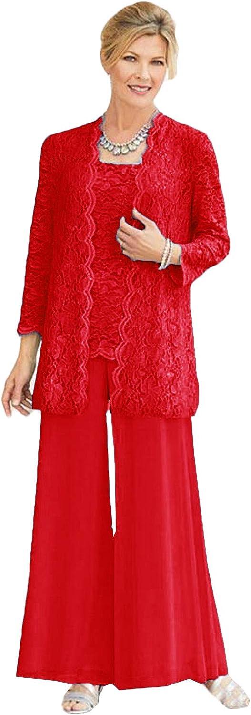 Xixi House Women's Long Sleeves Lace Mother of The Bride Pant Suits 3 Pieces Wedding Guest Dresses Plus Size
