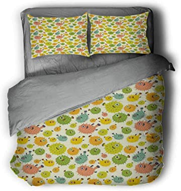 Flyerer Funny Pufferfish Colorful Thin Bond Gray and White Comforter