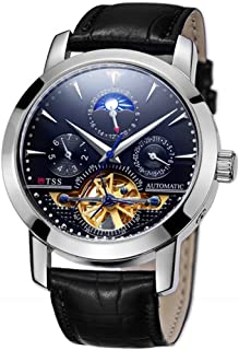 TSS Men's Automatic Tourbillon Moonphase Watch T8030 - Mechanical Stainless Steel Round Watch Synthetic Sapphire Pure & Clear Window - Precise Movement Analog Display - Water Resistant up to 50m