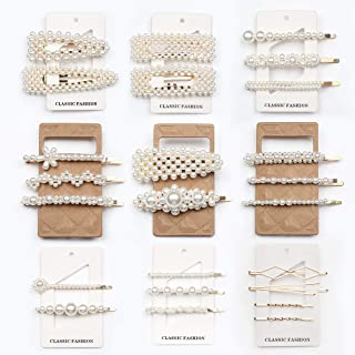 Cehomi 24 Pcs Pearl Hair Clips Barrettes Hairpins for Women Girls, Elegant Handmade Fashion Headwear Styling Tools Hair Ac...