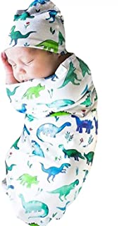 KIDDAD Newborn Baby Cartoon Shark/Dinosaur Print Swaddle Sleep Sack Bag Blanket Coming Home Outfit+Cap Outfit