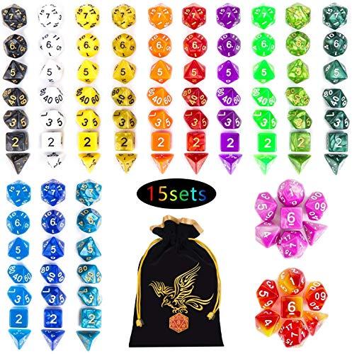 QMAY Lot de 105 dés polyédriques - 15 couleurs - Dés bicolor