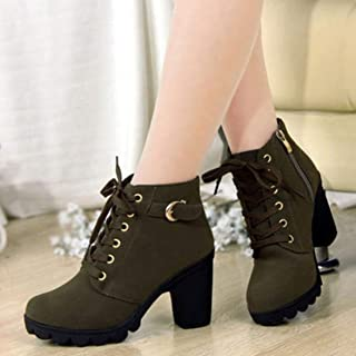 Autumn and Winter Martin Boots Women's Lace-Up High-Heeled Ankle Boots Fashion Boots Thick with Women's Boots - Green 41