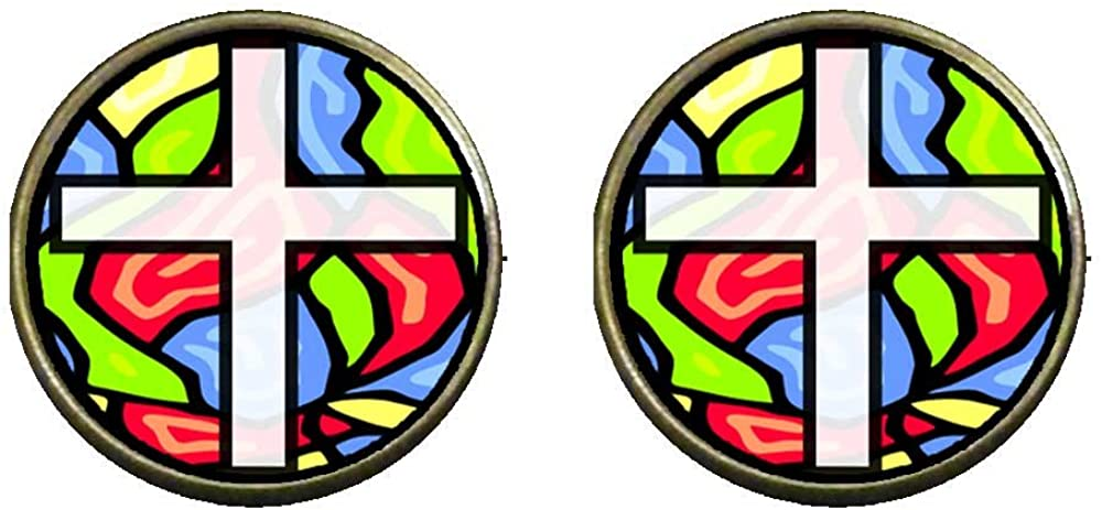 GiftJewelryShop Bronze Retro Style Religious Stained Glass Photo Clip On Earrings 14mm Diameter