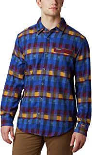 Columbia Men's Boulder Ridge Long Sleeve Flannel Shirt, Azure Blue Multi Twill, Medium