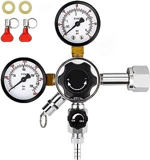 FERRODAY Dual Gauge CO2 Draft Beer Regulator Dual Stage Pressure Regulator CGA-320 CO2 Tank Beer Kegerator Regulator with Relief Valve Beer Keg Pressure Regulator for Homebrew 0-60 PSI 0-3000PSI