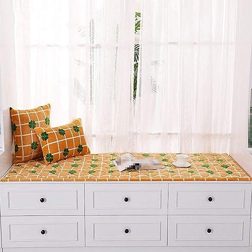 Erker Kissen, Fensterbank Matte Plüsch Moderne Einfach Dekoration Schlafzimmer Tatami Verdicken Teppich Anti-Rutsch Balkon Matte,Gelb,70x180cm(28x71inch)