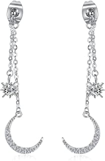 Platinum Plated Crystal Zircon Moon and Star Ear Jackets and Earrings Set for Women