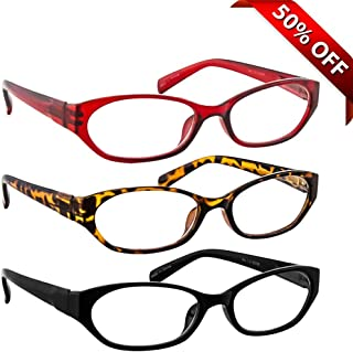 Reading Glasses 3 Pack with Tortoise Red Black Always Have a Stylish Look & Crystal Clear Vision When You Need It! Comfort Spring Arms & Dura-Tight Screws 100% Guarantee +3.00