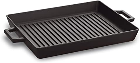 Pentole Agnelli Cast Iron Grill Tray with 2 Handle, Dimension 26 x 32 cm, Matt Black, One Size