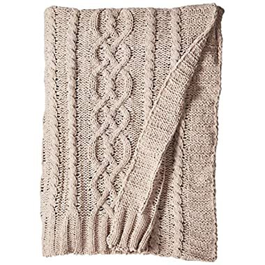 battilo Knitted Luxury Chenille Throw blanket, 51  by 67 , Light Gray
