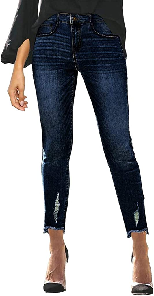 Jeans for Women,Women's Classic Mid Waisted Skinny Hole Denim Jeans Stretch Slim Pants Calf Length Jeans