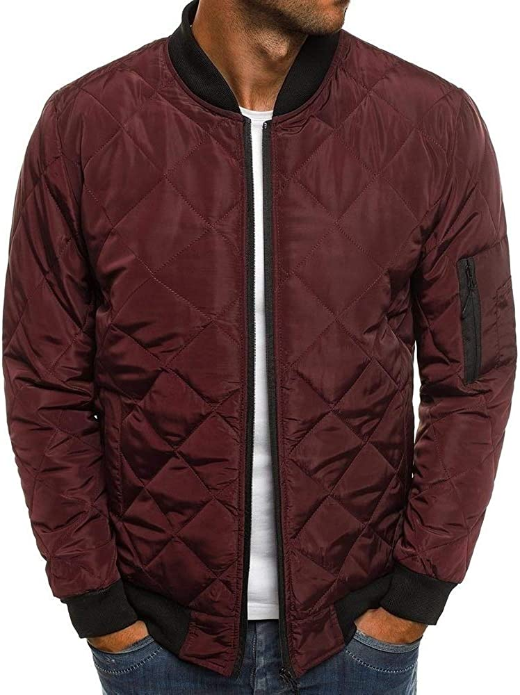 Mens Bomber Jacket Varsity Diamond Quilted Lightweight Windbreaker Softshell Flight Jackets Fall Winter Coats Outwear