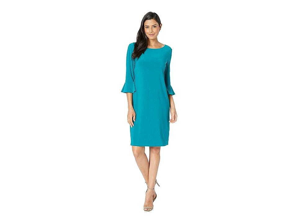 Nine West Ity 3/4 Ruffle Sleeve Sheath Dress (Peacock) Women