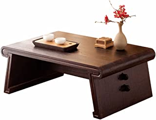 Solid Wood Coffee Table Table Japanese Rectangular Coffee Table Retro Bay Window Table Tatami Table Zen Desk Antique Tea T...
