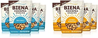 BIENA Chickpea Snacks Variety Pack, Sea Salt and Honey Roasted Combo (4 Bags Each) | Gluten Free, Dairy Free, and Vegetari...