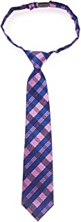 Retreez Tartan Plaid Patterns Woven Microfiber Pre-tied Boy's Tie - Pink and Blue - 4-7 years