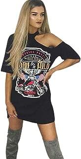 Women Vintage Off Shoulder Rock Style Long T-Shirt Mini Dress