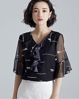 法贝莱 2018夏季新款女装休闲碎花雪纺衫女式韩版喇叭袖V领雪纺上衣宽松百搭1825