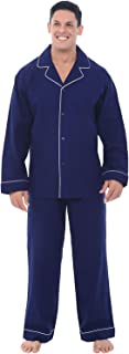 Men's Lightweight Flannel Pajamas, Long Cotton Pj Set