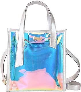Holographic Laser Messenger Bags Jelly Rainbow Hologram Transparent Handbag for Women Composite Bag Ladies Shoulder Bag,Silver