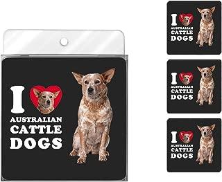 Tree-Free Greetings NC38996 I Heart Australian Cattle Dogs 4-Pack Artful Coaster Set
