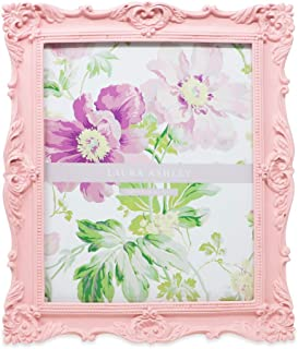 Laura Ashley 8x10 Pink Ornate Textured Hand-Crafted Resin Picture Frame with Easel & Hook for Tabletop & Wall Display, Decorative Floral Design Home Décor, Photo Gallery, Art, More (8x10, Pink)
