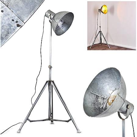 Lampadaire Svanfolk en métal gris effet vieillit, projecteur sur pied rétro-industriel à hauteur variable, max. 220 cm, idéale dans un salon vintage, pour 1 ampoule E27 max 25 Watt, compatible LED