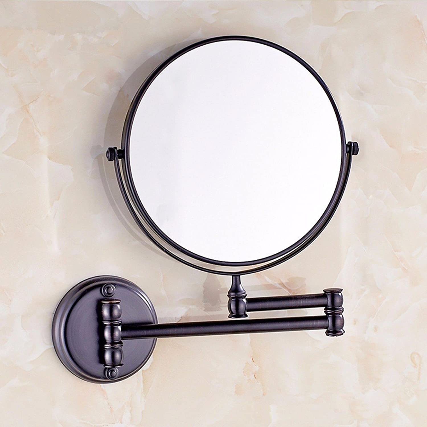 Antique copper bathroom wall mount makeup mirror folding mirror toilet telescopic mirror double sided magnification mirror 8-inch Black wall mount mirror