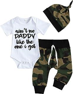 "Eghunooye Neugeborenes Babykleidung Set Junge Ain""t NO Daddy Like The ONE I GOT Druck Body Strampler Top Camouflage Hose Leggings Mütze Babyset Outfits"